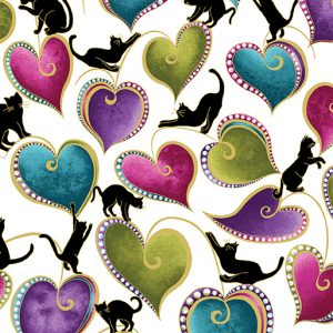 Ann Lauer - Cat-I-tude Hearts and Cats White/Multi
