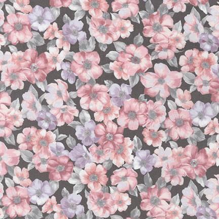 Robert Kaufman - Woodland Blossom SRK-17100-184 CHARCOAL